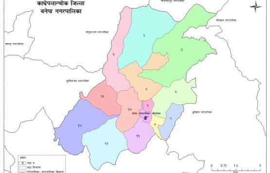 बनेपा नगरपालिका वडा विभाजन नक्शा